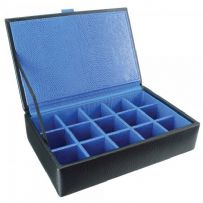 Dulwich Designs 70905 Black 15pc Cufflink Box With Blue Lining
